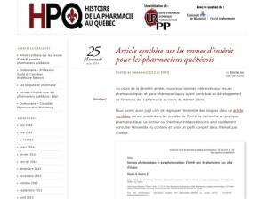 Blogue Histoire de la pharmacie au Québec