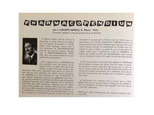 Première chronique Pharmacopendium publiée en mai 1963 dans le Québec Pharmacie