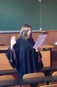 Alexia Janes, lors de la défense de sa thèse, le 12 septembre 2014