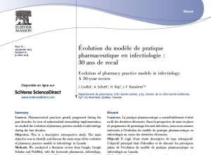 Trente ans de modèles de pratique pharmaceutique en infectiologie